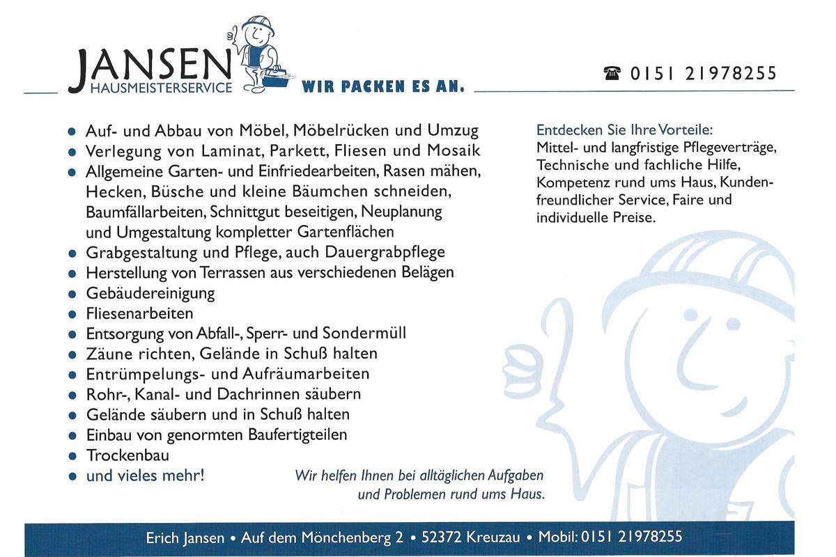 Hausmeisterservice  Erich Jansen Hausmeisterservice - Düren2020 - Wir rücken näher ...